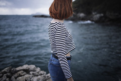 Evelin (the Piper at theGates of Dawn) Tags: blue red sea portrait girl beautiful lights ginger head