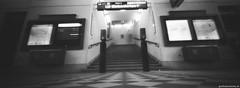 Pinhole Alser Strae (feurstein) Tags: pinholevienna ondupinhole pinhole vienna ondu lochkamera analog bw black white panoramic analogue film 35mm stairway stiegen treppen aufgang metro station u6 wien ubahn monochrome schwarz weiss