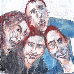 # 195 (13-07-2016) (h e r m a n) Tags: herman illustratie tekening bock oosterhout zwembad 10x10cm 3651tekenevent tegeltje drawing illustration karton carton cardboard groupportrait group groep groepsportret