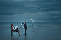 cup of tea, Sir? (magdalena.russocka) Tags: man narrative emotive expressive evocative illustration illustrator outdoor outside seaside sea beach conceptual sky clouds blue colour colorful servant storytelling story