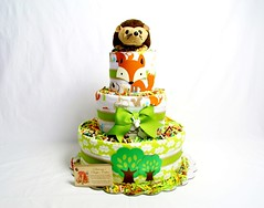 Woodland Animals Baby Diaper Cake (Dianna's Diaper Cakes) Tags: baby diaper cakes shower centerpieces gifts boys girls neutral diannas decoration