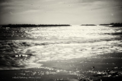 Elmer Beach Pin Hole (rhfo2o - rick hathaway photography) Tags: sea blackandwhite bw blur canon vintage mono seaside sand waves westsussex pinhole elmer bognorregis beac seadefences homemadepinhole canoneos50d elmersands rhfo2o