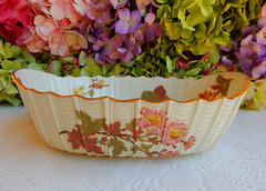 Antique Royal Worcester Porcelain Serving Bowl Floral ~ Gold Gilt 1886 (Donna's Collectables) Tags: antique royal worcester porcelain serving bowl floral ~ gold gilt 1886
