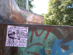 Bonjour Sticker (helixgraffiti) Tags: sticker stuck slap flypost graff graffiti street art stick up helix 2016 crediton skate park