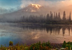 Rainier Reboot (Philip Kuntz) Tags: mtrainier reflectionlake reflections mists dawn daybreak sunrise earlymorning soulreboot mtrainiernationalpark washington explore
