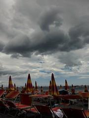Positano, Salerno - sunbathing (eugeniointernullo) Tags: ombrellone beach spiaggia nuvole cloudy sea mare positano costiera amalfitana