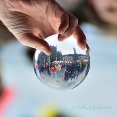 Crystal Ball (Marlscat) Tags: crystalball edinburgh streetperformer stgilescathedral royalmile flippedphoto nikond5300 scotland
