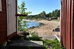 HANKO. Sitting between huts (pentlandpirate) Tags: hanko finland hango suomi fisherman hut shed beach baltic sea