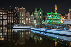 Night Watch (McQuaide Photography) Tags: amsterdam noordholland northholland netherlands nederland holland dutch europe sony a7rii ilce7rm2 alpha mirrorless 1635mm sonyzeiss zeiss variotessar fullframe mcquaidephotography adobe photoshop lightroom tripod manfrotto light licht night nacht nightphotography longexposure stad city capitalcity urban lowlight architecture outdoor outside old oud gracht grachtenpand canalhouse house huis huizen traditional authentic water reflection centrum gebouw building waterfront waterside canal colour colours color windows coffeeshop thegrasshopper tourism touristattraction travel damrak boat boot canalcruise rederijplas