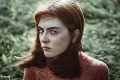 Sasha (alexandra_bochkareva) Tags: girl girlish ginger green grass red redhead russia real female face fairy freckles feelings freckled fire helios hair