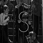 Kids gather at the bottom field entry gate in Carter-Finley Stadium in 1983.  (© Roger Winstead)