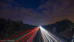 m1_j30_south (Scott's-101 Photography) Tags: nightphotography light trail lighttrail m1 southyorkshire motorway redlight speed longexposer