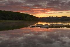 Thornton Reservoir Sunrise (John__Hull) Tags: thornton reservoir sunrise clouds sun reflection boats still calm landscape leicestershire countryside ripples water nikon d3200