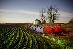 RGB Farmscape IV (Notley) Tags: longexposure blue sky lightpainting green abandoned field night rural march silo dirt missouri crops greenlight hay agriculture nocturne haybale bluelight haybales lichtmalerei furrows boonecounty 2015 10thavenue notley bottomland boonecountymissouri missouririverbottoms grainauger notleyhawkins pinturadeluz   missouriphotography httpwwwnotleyhawkinscom notleyhawkinsphotography