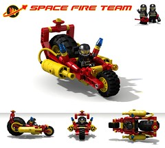Fire Bike (David Roberts 01341) Tags: rescue bike fire lego space motorbike scifi motorcycle minifig dragster povray minifigure ldd