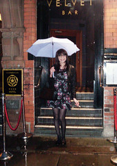 Rain Parade (Starrynowhere) Tags: black glasses legs tights crossdressing tgirl flats tranny transvestite pantyhose crossdresser crossdress nylons transvestism crossdressed dressedasagirl starrynowhere wearingwomensclothes emmaballantyne