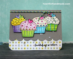 Birthday card (Heart for Handmade) Tags: birthday cupcake card stamping sequins birthdaycard twine handmadecard diecut coloredcard