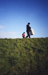 Picnic (Alistair Prentice.) Tags: blue ireland green 35mm landscape picnic dad kodak sunny son olympus xa2 full 200 frame northern colourplus