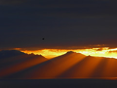 Arran Fan Sunset 3 (g crawford) Tags: sunset orange sun water yellow clyde fan sundown hills sunbeam arran crawford ayrshire jacobsladder northayrshire westkilbride