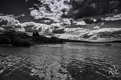lonely boat on the loch (Lewis Brown Photography) Tags: trees summer blackandwhite cloud reflection tree monochrome photoshop photography mono scotland boat nikon image loch lochlomond lightroom picoftheday 2013 cloudjunky monochromerocks