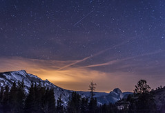 Night Skies over Half Dome (Cat Connor) Tags: california trees sky mountains nature night clouds stars landscape photography nationalpark nightscape scenic astrophotography yosemite halfdome nightsky