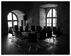 Vacation . . (heinrich_511) Tags: light shadow bw love window monochrome table day darkness heart sweet pov room dream meeting together hl thougts hambacherschloss tastingcave