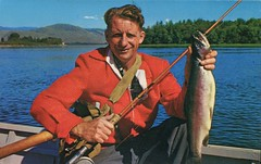 Trout Catch, Kamloops, BC (SwellMap) Tags: postcard vintage retro pc chrome 50s 60s sixties fifties roadside midcentury populuxe atomicage nostalgia americana kitsch animal animals wildlife pose posing fish fishing hunting