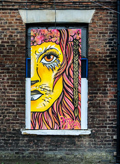 lion eyes on the wall (PDKImages) Tags: urban streetart art mill abandoned beauty lady contrast manchester graffiti eyes colours anger lips fortune hidden angry drama fortuneteller unexpected teller liom