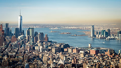 Upper New York Bay (Malick) Tags: city travel winter usa newyork skyline america skyscraper river lens photography 50mm prime nikon downtown unitedstates manhattan worldtradecenter jersey empirestatebuilding hudson dslr 18 longislandcity upperbay d5200