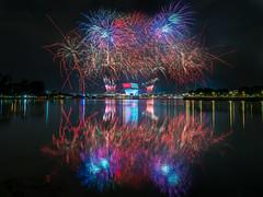 NDP 2016 Fireworks (BP Chua) Tags: longexposure reflection water bulb night landscape photography nikon singapore asia colours fireworks stadium firework celebration national ndp colourful nationalday neshow sportshub d800e ndp2016