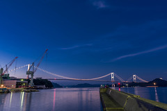 Kurushima-Kaikyo Bridge & Imabari Shipbuildings (Hiro_A) Tags: bridge sea japan night landscape seaside nikon scenery ship sigma landmark shikoku 1770 strait ehime shipbuilding shimanami imabari kurushima kaido 1770mm d7200