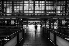Waiting at the train station / Center of symmetry (zgr Grgey) Tags: 2016 20mm bw d750 hamburg hauptbahnhof nikon voigtlnder architecture lines street symmetry waiting germany