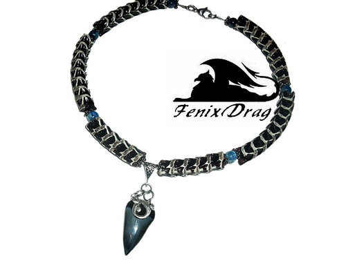 """Choker necklace """"Ancient Lizard"""" real bone spine snake (king cobra), black tooth shark, blue stone kyanite, silver plated, Ethnic jewelry"""