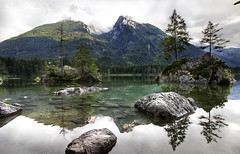Stepping Stones (creyesk) Tags: lake hintersee germany berchtesgaden ramsau reflections alps mountains trees sommer green landscape