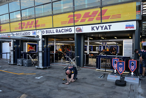 Red Bull Racing garage and pits