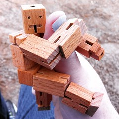 1,2,3,4... (sweetmeika) Tags: cubebot wooden wood robot toy poseable thumb small mighty