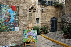 Art Place I (Esther Spektor - Thanks for 11+ millions views..) Tags: art painting picture wall architecture door window plant jaffa israel pot pavement corner easel building place