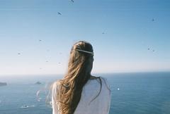Echoes (Helena Costa.) Tags: portrait back f65 nikon analog film 35mm asturias spain blue birds girl wind summer