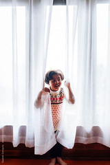 ... (Saptak Ganguly) Tags: activity adorable child childhood curtain cute fun hide littlegirl peekaboo peep play playful smile white window
