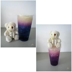 我也來趕個流行  XD (Jia ♔ 冰雪不聰明) Tags: 台灣 飲料 蝶豆花 藍 紫 熊 taiwan drink blue purple bear canon