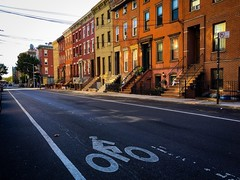 Bike Lane (street level) Tags: brooklyn williamsburg nyc rowhouses street photography newyorkcity iphoneography gothamist bikelane architecture