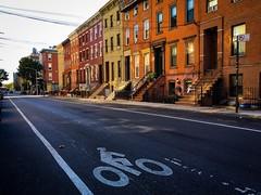 Bike Lane (street level) Tags: brooklyn williamsburg nyc rowhouses street photography newyorkcity iphoneography gothamist bikelane architecture