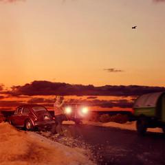 No hitchhikers (Logan Fox) Tags: sunset man bird car composite vw truck evening miniature flying sand highway desert nevada beetle anger headlights lensflare breakdown hitchhiker diorama fedup