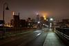 StoneArch in Fog M3sb (Greg Riekens) Tags: city bridge usa minnesota fog skyline night lights nikon downtown foggy minneapolis stonearchbridge flickrelite d7000