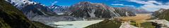 Mount Cook and Tasman Valley Panorama (tewahipounamu) Tags: newzealand panorama lake canterbury glacier neuseeland mountcook aoraki aorakimountcooknationalpark sealytarnstrack muellerhutroute