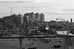 Warren Towers (AntyDiluvian) Tags: bridge blackandwhite bw boston vintage river 1971 massachusetts dorm charlesriver esplanade 1970s 1972 bu embankment harvardbridge bostonuniversity storrowdrive warrentowers