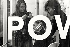 POV \-/ (sawyersource) Tags: brighton d7200 105mm nikon sigma people person pov perspective point view circle lines camera hair fashion hairdressers hairdressing hairdress hands faces face streetphotography street screen women style blackwhite blackandwhite bw grain unsuspecting candid
