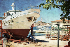 Brodogradilite (Shipyard) (Nikos Niotis) Tags: sea texture colors port marina landscape coast europe ship colours croatia balkans shipyard rovinj adriatic istria brodogradilite