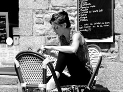 Lunch and Crpes menu (patrick_milan) Tags: street portrait people blackandwhite bw woman white black girl monochrome beautiful face women noir noiretblanc femme nb belle rue fille blanc personne streetview gens fminin candide femal