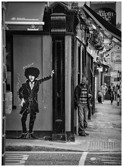 CP 028 - If you've got nothing but a sense of humour you will survive. (Clare Pickett) Tags: blackandwhite cigarette famous man people philiplynott popstar road rock smoke street